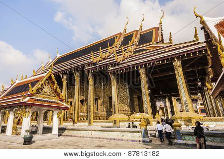 People Visit Famous Temple Phra Sri Ratana Chedi Covered With Foil Gold In The Inner Grand Palace