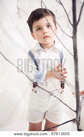 Cute little boy on balloons background