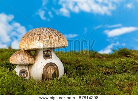 Replica fairytale toadstool as a gnome house