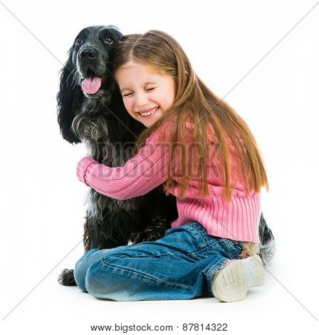 cute llittle with black cocker spaniel  on a white background