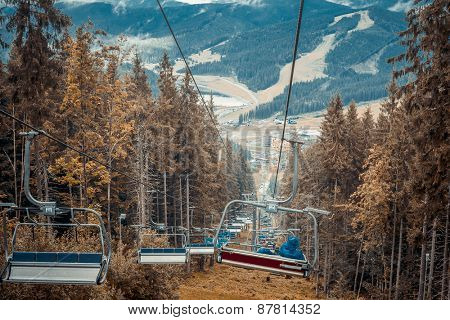 ski lifts in the Carpathians mountains