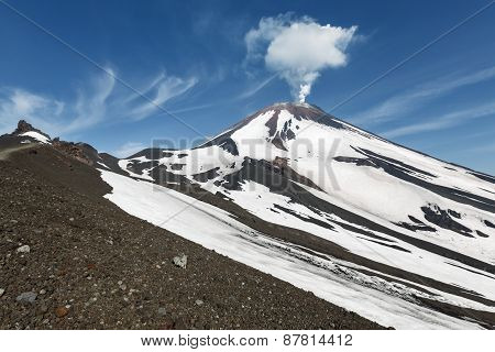 Beautiful Kamchatka Volcanic Landscape: Active Avachinsky Volcano. Kamchatka, Russia