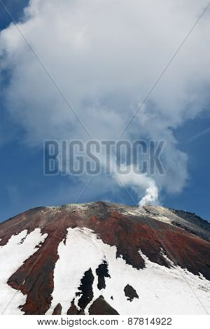 Top Of Volcanic Cone Avacha Volcano, Steam And Gas Emissions From Crater. Kamchatka, Russia