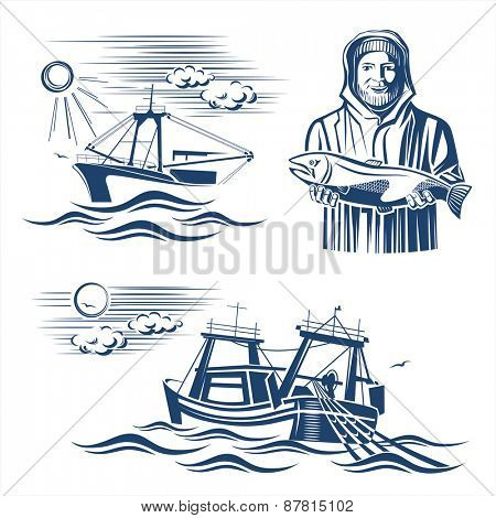 Fishing industry design elements. Vector set.