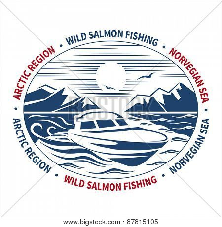 Arctic fishing label. Vector illustration.