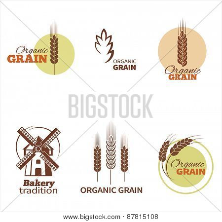Wheat symbols and labels. Vector design elements set.