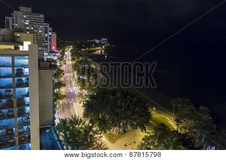 Waikiki Skyline At Night