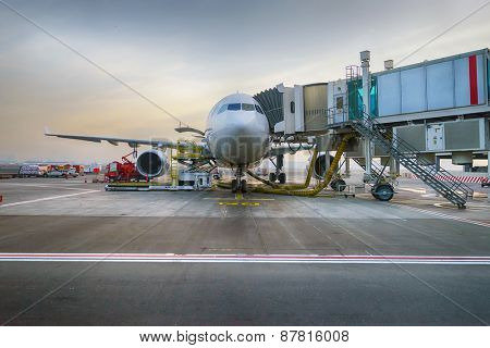Docked jet aircraft in Dubai international airport