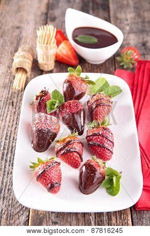 strawberry and chocolate sauce