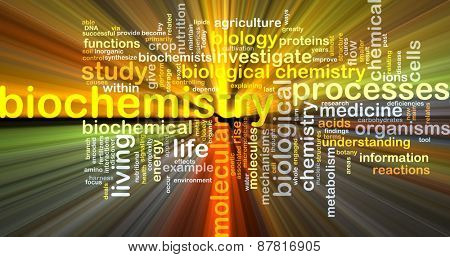 Background text pattern concept wordcloud illustration of biochemistry glowing light