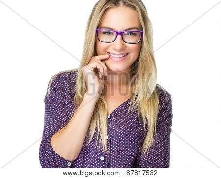 Portrait of happy smiling student girl wearing stylish glasses isolated on white background, enjoying education, studying with pleasure