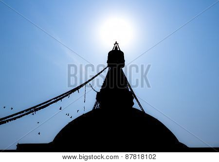 Silhouette of the Boudanath Stupa