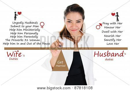 Wife and husband duty, for couple and family concept