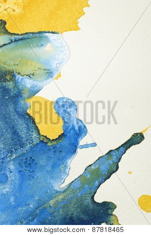 Blue and Yellow Ink Blots Background