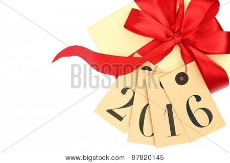Gift box with red bow and tags with new year 2016 isolated on white