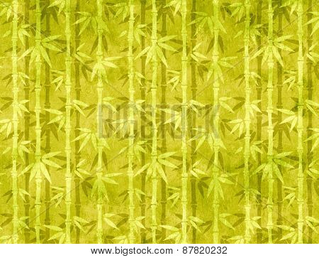 Paper texture of green color with bamboo