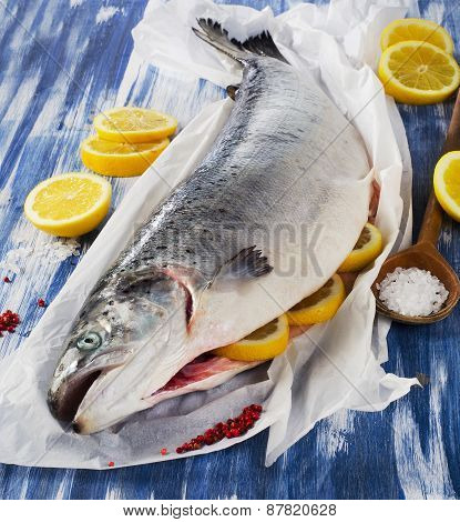 Salmon With Lemon And Spices .