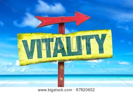 Vitality sign with beach background