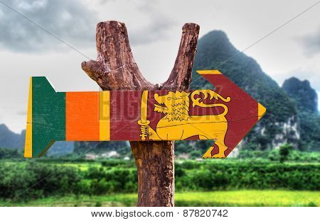 Sri Lanka Flag wooden sign with nature background
