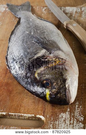 Fresh Sea Bream On  Wooden Cutting Board