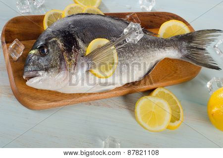 Raw Dorado With Lemon On  A Wooden Cutting Board