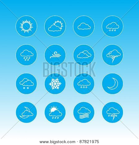 weather forecast icons in blue circles
