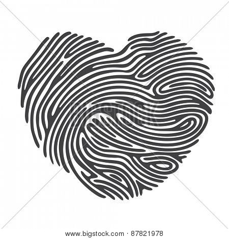 Black Heart Shape Finger Print