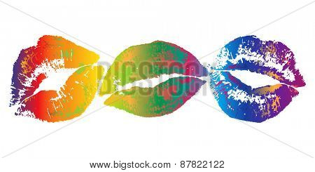 Colorful lipstick kiss prints