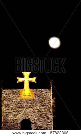 Castle, Celtic cross and the moon
