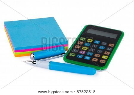 Set Of Sheets For Notes, Calculator And Pen