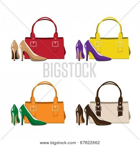 Set of Trendy Woman Shoes and Handbag