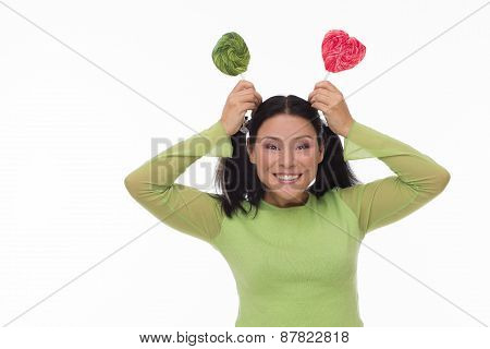 Funny woman with candy