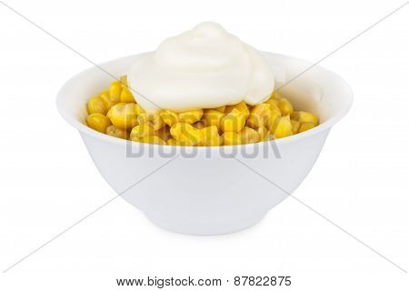 Sweet Corn With Mayonnaise In Bowl