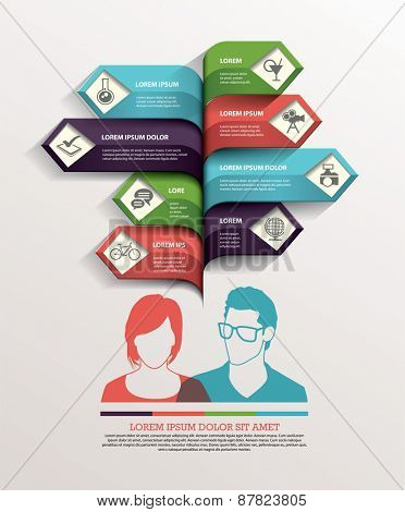 Business with people arrow infographics template. Vector illustration.