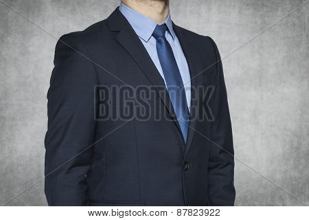 Businessman On The Grey Background