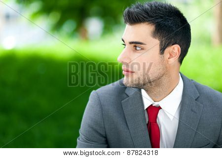 Confident young businessman portrait outdoor