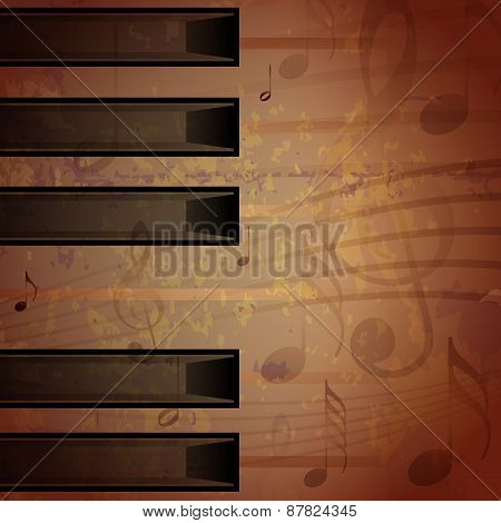 Abstract Piano Grungy Background With Music Notes