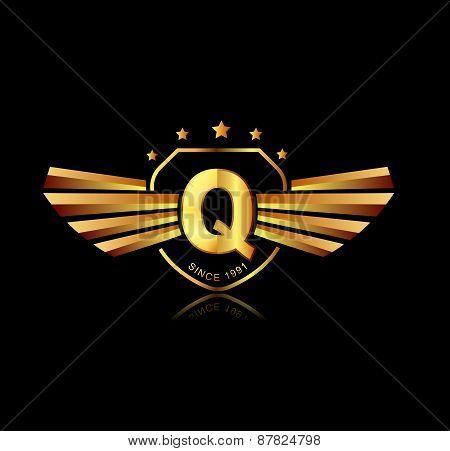 Letter Q Winged Crests Logo . Alphabet Logotype Design Concept