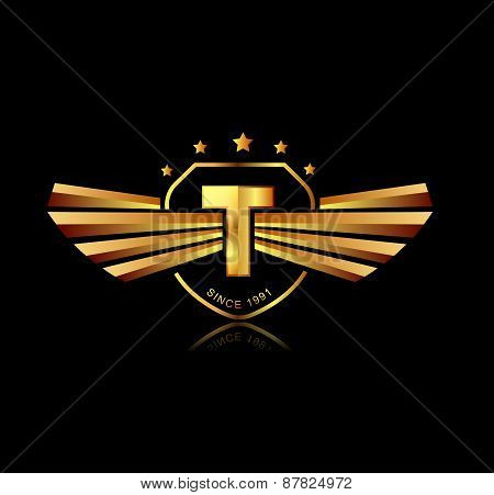Letter T Winged Crests Logo . Alphabet Logotype Design Concept