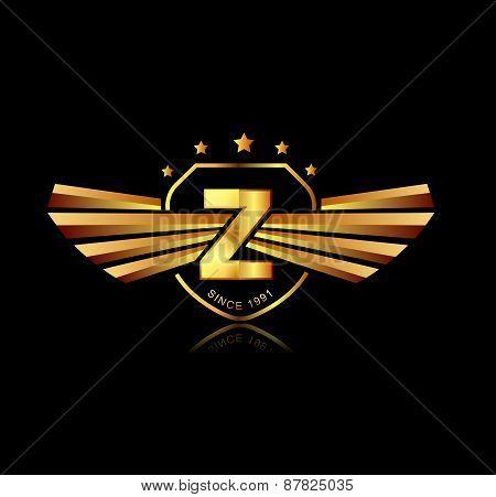 Letter Z Winged Crests Logo . Alphabet Logotype Design Concept