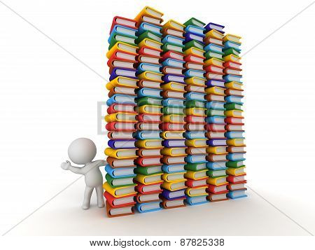 3D Character Waving from Behind Huge Stacks of Books