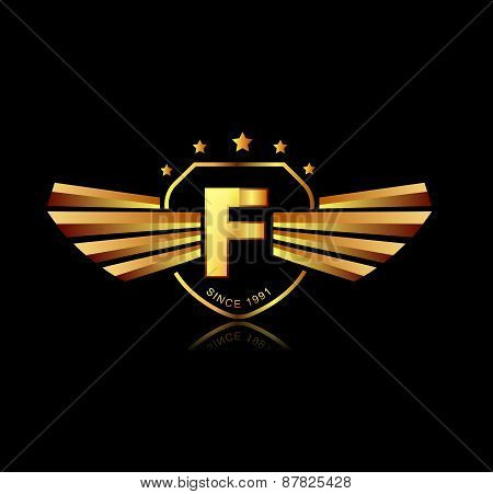 Letter F Winged Crests Logo . Alphabet Logotype Design Concept
