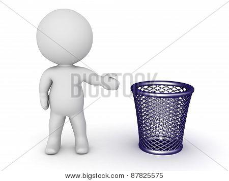 3D Character Showing Trash Basket