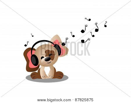 Puppy Listening Music