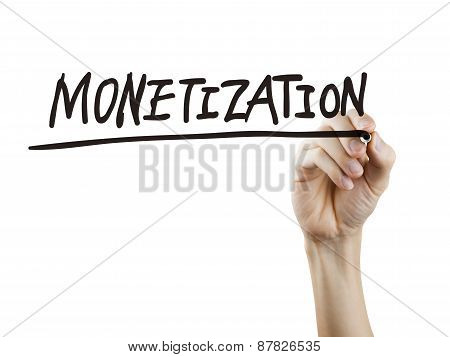 Monetization Word Written By Hand