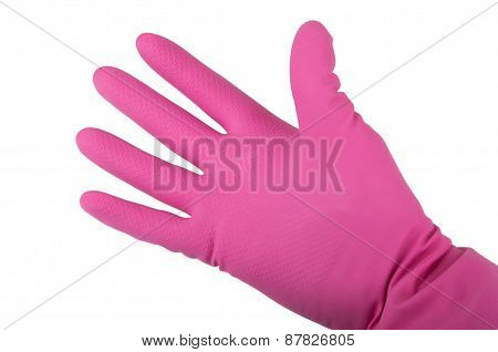Hand In A Pink Rubber Glove