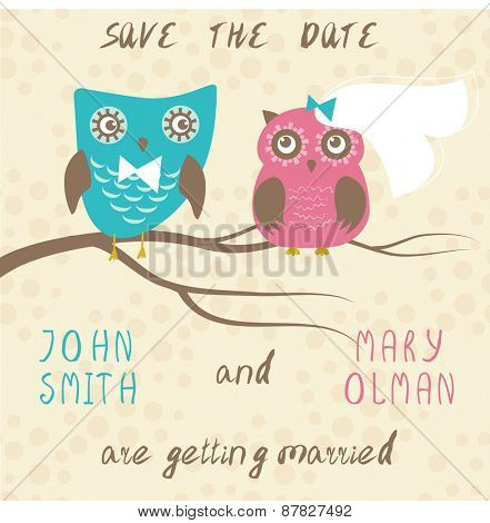Wedding card with cute owls couple
