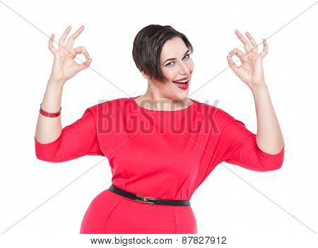 Beautiful Plus Size Woman With Ok Gesture With Her Hands Isolated