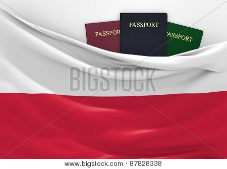 Travel and tourism in Poland, with assorted passports