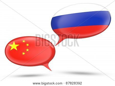 China - Russia relations concept with speech bubbles